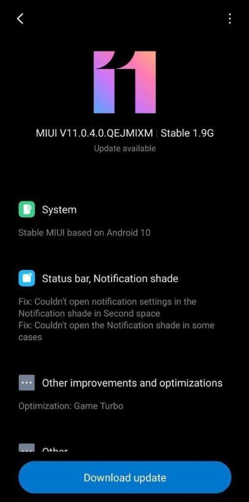 прошивка MIUI V11.0.4.0.QEJMIXM