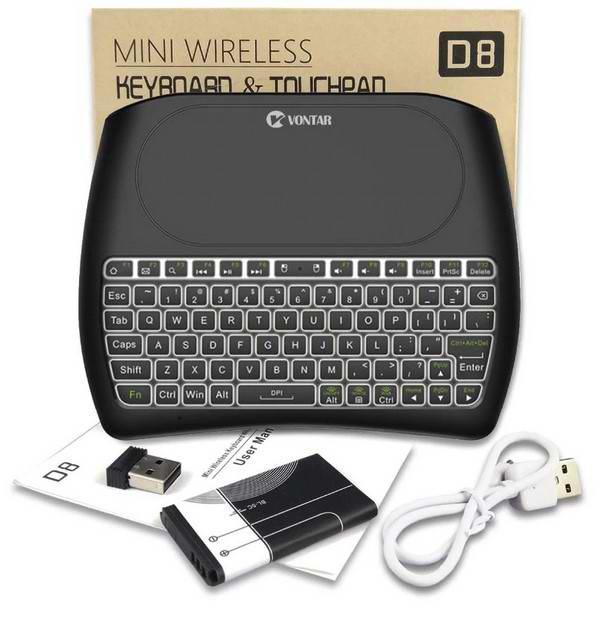 Комплектация мини клавиатуры Vontar D8 Pro