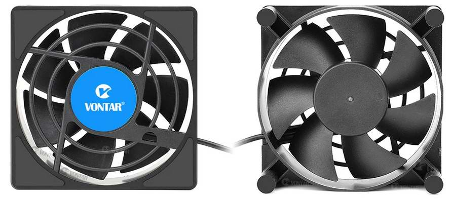 Вид сверху и вид снизу вентилятора охлаждения для ТВ приставок