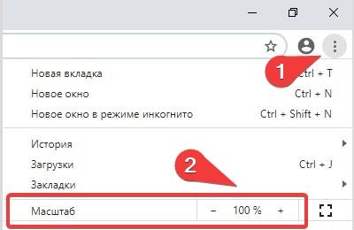 Google Chrome изменить масштаб веб сайта