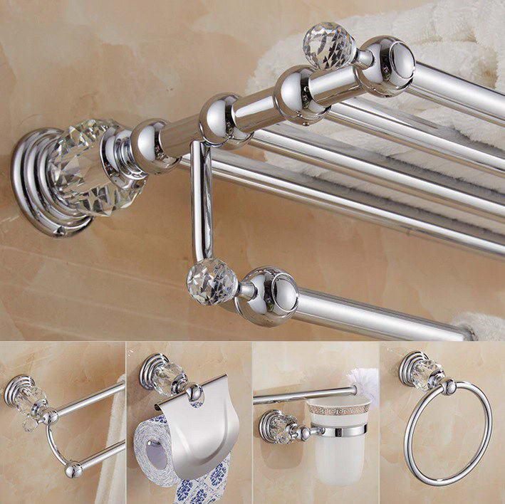 Латунная полка для душа, держатель для туалетной бумаги, серебристый кристалл, настенный держатель для полотенец, держатель для туалетной щетки, набор аксессуаров для ванной комнаты