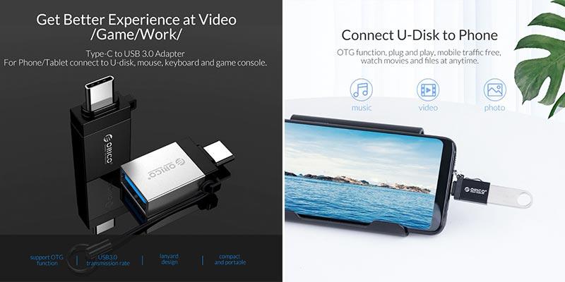 OTG переходник Type-C - USB micro USB - USB Type-C - micro USB