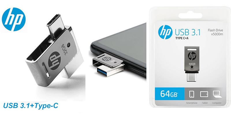 USB флеш-накопитель HP x5000m OTG Type-C USB 256, 128/64/32 ГБ